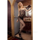 Sexy Flower Pattern Sling Fishnet Mesh Lingerie Bodystocking - Black