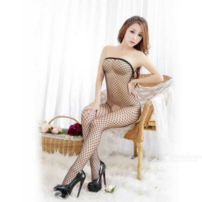 Без бретелек Fishnet Mesh Sexy Bodystocking Lingerie - черный