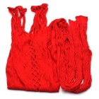 Crochet Flower Hollow Sexy Sling One-Piece Stocking Pants - Red