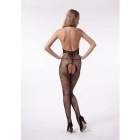 Flower Pattern Halter Backless Sexy Bodystocking for Women - Black