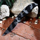 Outdoor Stainless Steel Tiger Skin Pattern Knife - Black + Grey