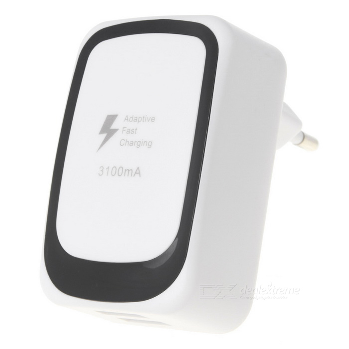 EU Plug DC 5V 3.1A USB 2-Port Charging Adapter - White + Black