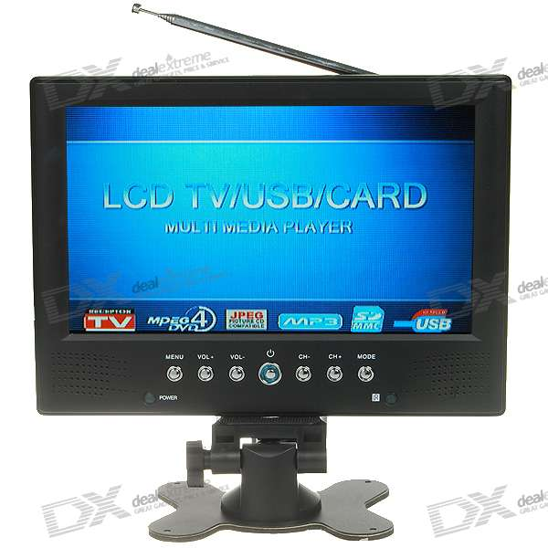 "9"" Wide Screen TFT LCD Color TV Monitor with Remote Control Set"