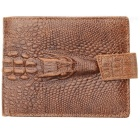 JIN BAO LAI Alligator Skin Pattern Men's Leather Wallet - Coffee