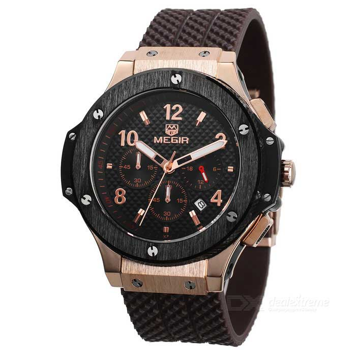 MEGIR 3002G Men's Quarz Analog Wrist Watch - Black + Brown