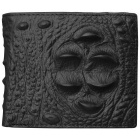 JIN BAO LAI Alligator Skin Pattern Men's Leather Wallet - Black