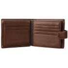 JIN BAO LAI W001-1-2 Tri-fold Retro Leather Hasp Open Wallet - Coffee