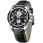 MEGIR 2015 Quartz Analog Wrist Watch for Men - Black
