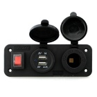 IZTOSS DC12~24V Cigarette Socket + USB 3.1A Charger with Switch -Black