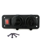 IZTOSS Dual USB 4.2A Charger + DC12V LED Voltmeter w/ Switch - Black