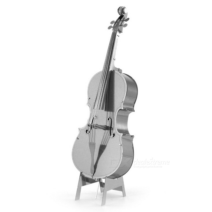 DIY Puzzle 3D Assembled Cello Model Educational Toy - Silver