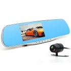 "Junsun H200 4.3"" FHD 1080P + Dual Lens Rearview Mirror Car DVR Camera"