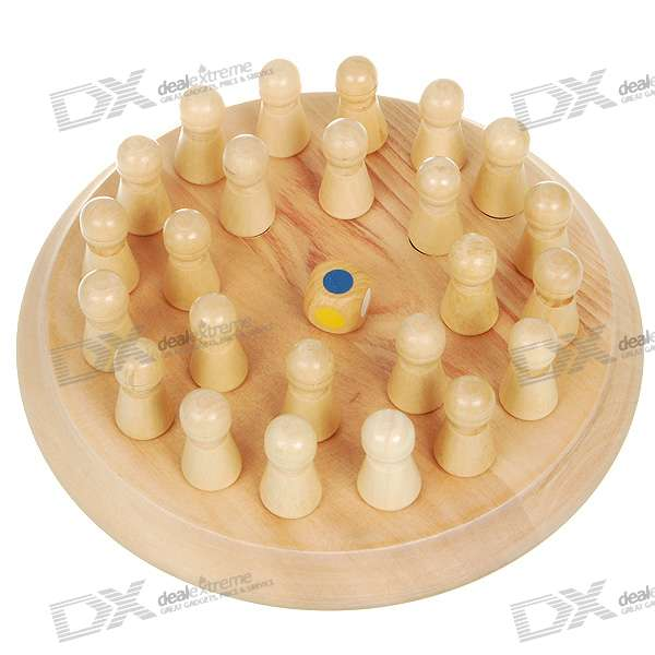 Multi-Color Wood Memory Chess Brain Teaser Game for All Ages