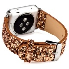Glitter Flashing Style Leather Watchband for APPLE WATCH 42mm - Golden