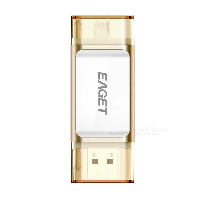 EAGET I60 32GB USB3.0 / relampagueo disco de la impulsión del flash de OTG - oro + blanco