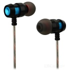 Universal HIFI Bass 3.5mm In-Ear Metal Headphone w/ Mic - Black + Blue