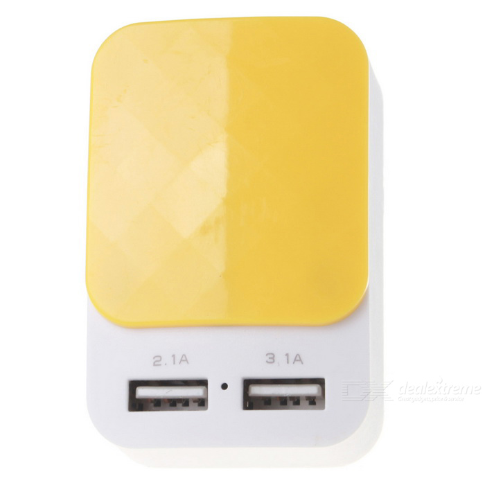 EU enchufe DC 5V 3.1A USB 2-Port adaptador de carga - blanco + amarillo
