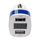 Dual USB 12~24V 3.1A Car Charger w/ Voltage Display - Dark Blue +White
