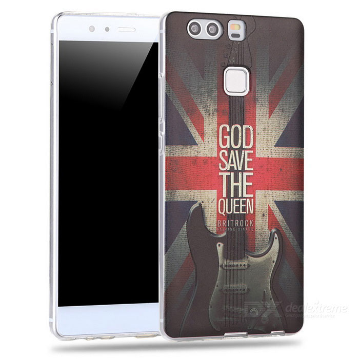 3D Guitar + US Flag Pattern Embossed Edge Back Case for Huawei P9