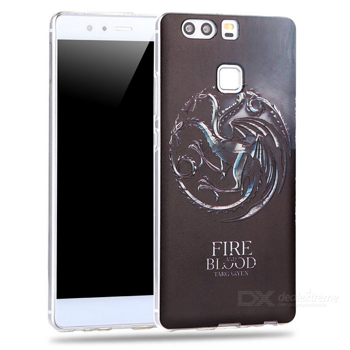 3D 3-Drag Pattern Embossed Edge Back Case for Huawei P9 - Black