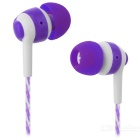 JEDX Outdoor Sports 3.5mm Plug Wired In-Ear Earphone - Purple + White