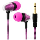 JEDX Bullet Head Style 3.5mm Plug Wired In-Ear Earphone - Deep Pink