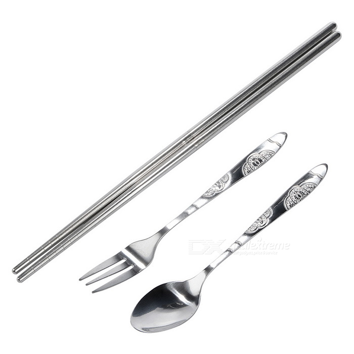 3-in-1 Stainless Steel Chopsticks Fork Spoon Tableware Cutlery Set