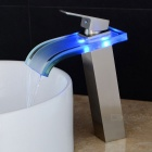 Nickel Brushed Glass Spout LED Waterfall Bathroom Sink Faucet