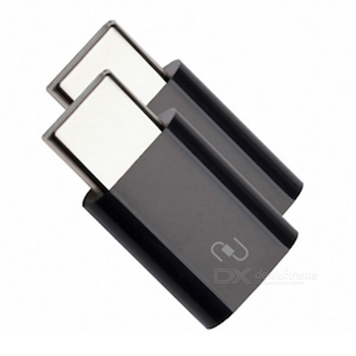 Xiaomi USB Type-C Male to Micro USB Female Adapters - Black (2 PCS)