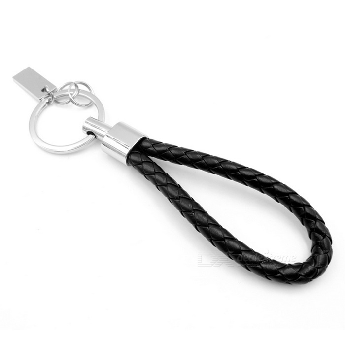 ZIQIAO Car Leather Strap Alloy Key Chain - Black + Silver