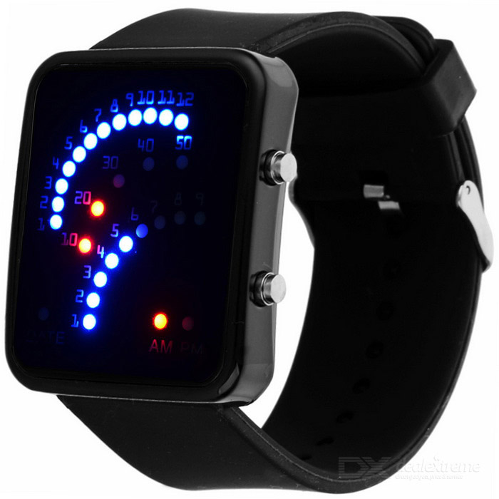 Fashion Creative Fan Shaped Time Display LED Digital Watch - Black