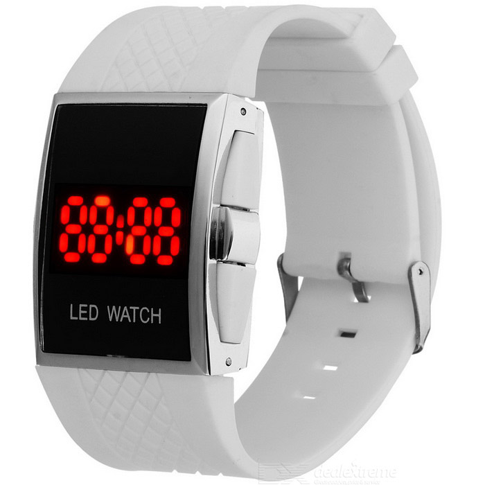 Fashion Sport Alloy Case PU Band LED Digital Smart Watch - White