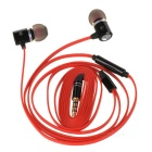 Universal 3.5mm HiFi In-Ear Earphone w/ Mic, Flat Cable - Black + Red