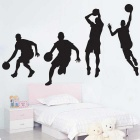 Removable DIY 3D Basketball Character Decorative Wall Sticker - Black