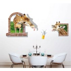 Removable PVC 3D Giraffe Wall Sticker for Decoration - Brown + Green