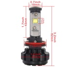 MZ H11 6000K DC9-30V 60W LED Cold White Light Car Headlight - Black