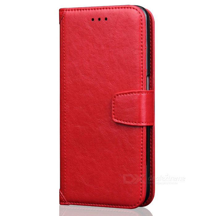 PU Leather + TPU Flip Open Back Case for IPHONE 7 - Red