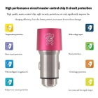 Hat-Prince E2 2-USB Car Charger / Metal Emergency Hammer - Deep Pink
