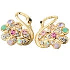 Fashion Awesome Zinc Alloy Rhinestone Swan Stud Earrings (Pair)