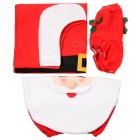 Christmas Santa Claus Three-Piece Toilet Cloth Suits Set - White + Red