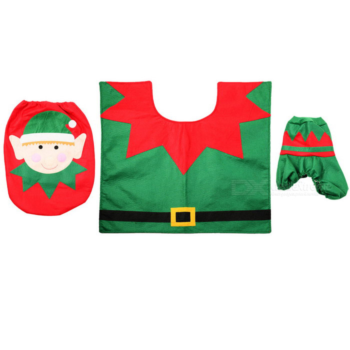 Christmas Santa Claus Three-Piece Toilet Cloth Suits Set - Red + Green