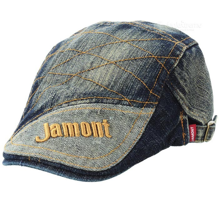 Retro Jean Denim Fabric Cap Hat with Jamont Pattern