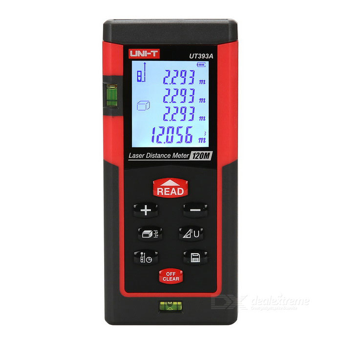 UNI-T UT393A 120m High Precision ABS Laser Rangefinder - Black + RedLaser Rangefinder, Electronic Distance Meter<br>Form  ColorBlack + RedModelUT393AQuantity1 DX.PCM.Model.AttributeModel.UnitMaterialABSDetection Range120mMeasuring Accuracy(1.5mm + d * 5/100000)Laser LevelInfraredMax.Storage100Display1.81 inches LCDPowered ByAAA BatteryBattery included or notYesEnglish Manual / SpecYesOther FeaturesIt makes it easier to measure the work. Faster, more accurate measurement of the speed and accuracy of laser signal strength; instructions; ergonomic design of new ideas; area and volume can be calculated according to the measured length and breadth fast intelligent, without us to calculate.CertificationCEPacking List1 * Laser rangefinder1 * Instrument portable package1 * lanyard (ca: 19cm)2 * AAA battery1 * English Instruction1 * Box1 * Reflection board<br>