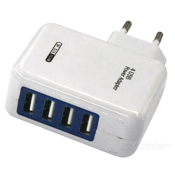 4-Port USB AC100~240V 3.1A EU Plug Power Charger - White + Blue