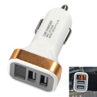 Dual USB 12~24V 2.1A Car Charger / Fast Charger w/ LED Display - Gold
