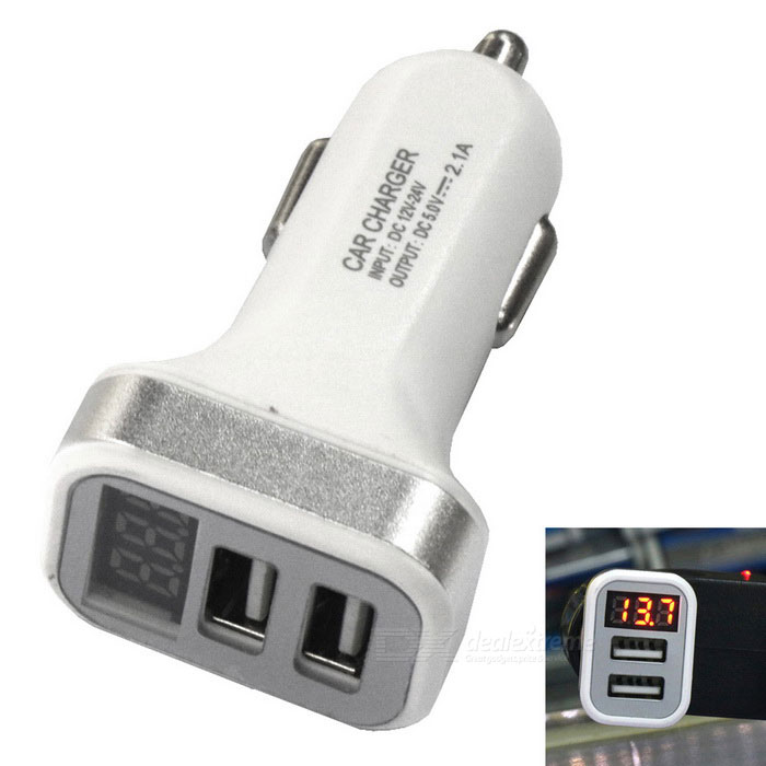 Dual USB 12~24V 2.1A Car Charger / Fast Charger w/ LED Display -Silver