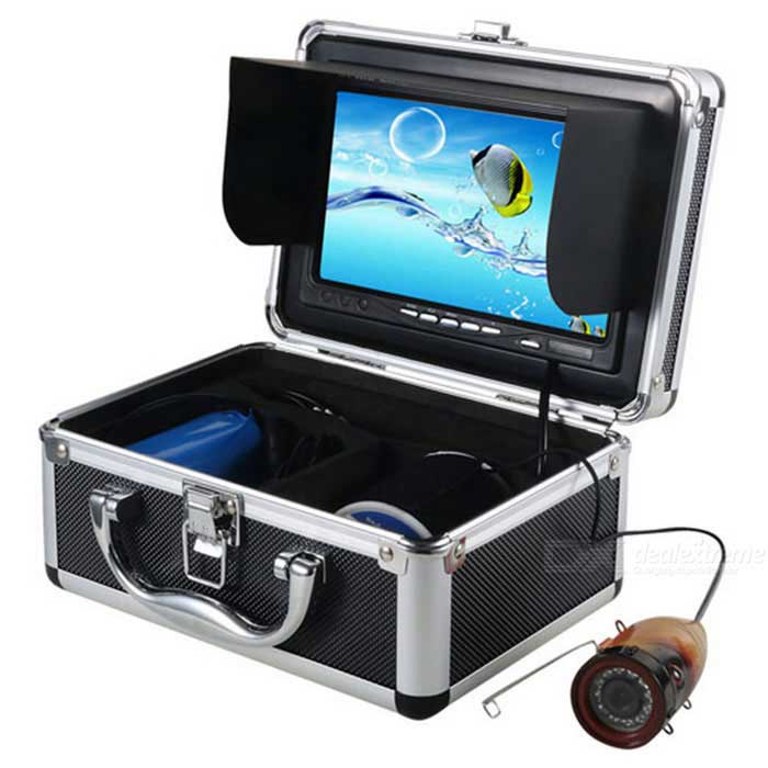15m Underwater Fishing Camera Video Recorder DVRForm ColorBlack + MulticolorQuantity1 DX.PCM.Model.AttributeModel.UnitMaterialAluminum + Organic glassBattery included or notYesWater Layer15mPacking List1 * 7 TFT Monitor 1 * IR Camera with 15m cable  1 * Battery 1 * Power Adapter 1 * Aluminum Box  1 * Fixed Ring 1 * Float    1 * 4GB SD Card1 * Removable Sunshield1 * English User Manual<br>