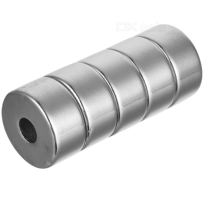 20mm * 10mm Round Shaped Magnetic NdFeB Magnets - Silver (5 PCS)