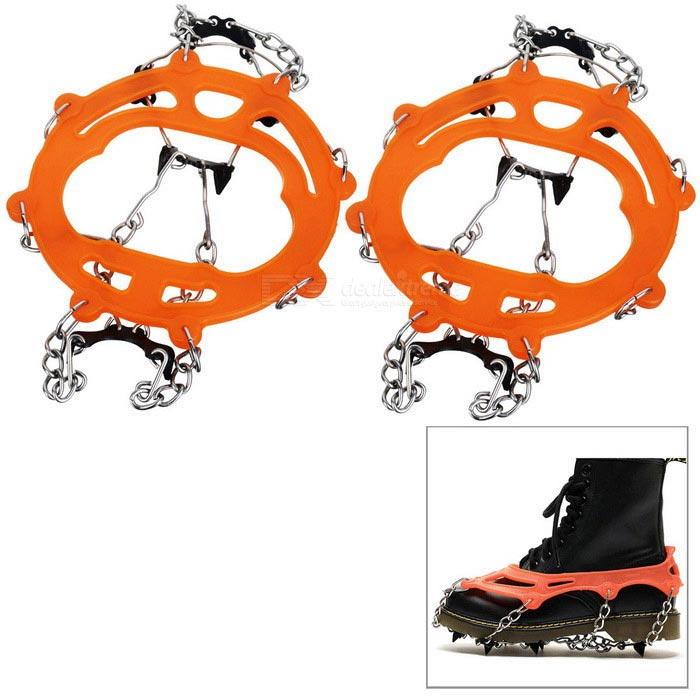 HALIN Anti-Slip Eight Teeth Ice Snowshoeing Crampons - Orange (1 Pair)