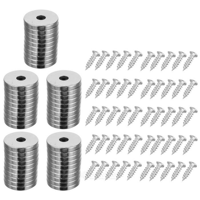 20 * 3 * 5mm Round Hole NdFeB Magnets (50 PCS) w/ Screws (50 PCS)